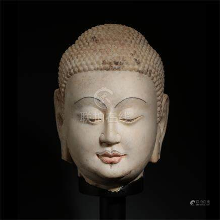 CHINESE ALABASTER BUDDHA HEAD TAND DYNASTY