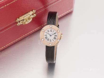 """卡地亞 """"LOVE"""" 18K玫瑰金鑽石石英機芯皮帶女裝腕錶"""