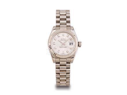 """勞力士 蠔式 """"DATEJUST"""" 18K白金鑽石字自動日曆鏈帶女裝腕錶"""