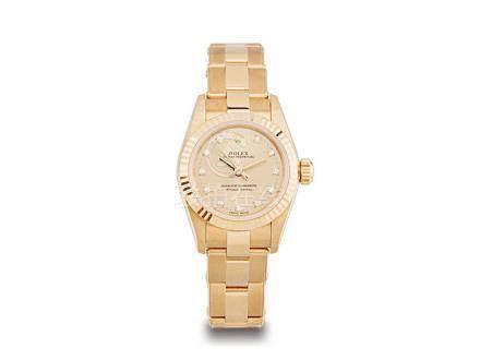 勞力士 蠔式 18K金鑽石字自動鏈帶女裝腕錶
