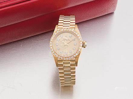 勞力士 蠔式 18K金後鑲鑽石圈原鑲鑽石字自動鏈帶女裝腕錶