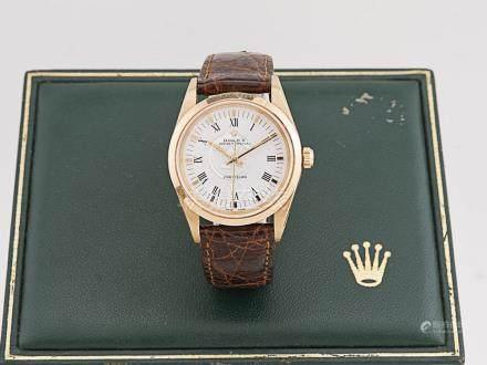 """勞力士 蠔式 """"PRECISION"""" 18K金自動皮帶腕錶"""