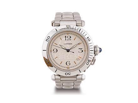 """卡地亞 """"PASHA"""" 鋼自動日曆鏈帶腕錶"""