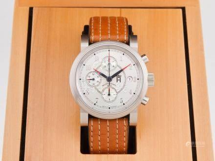 MUHLE GLASHUTTE 鋼自動計時日曆透視背皮帶腕錶