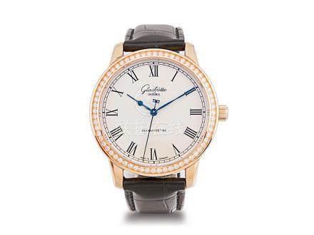 """全新 格拉蘇蒂 """"SENATOR"""" 18K玫瑰金鑽石圈自動透視背皮帶腕錶"""
