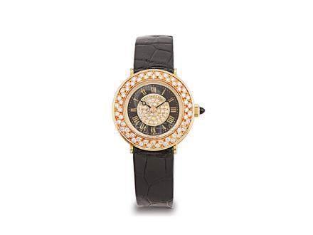 寶璣 18K金鑽石面及圈手動上鍊皮帶女裝腕錶