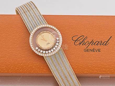 """蕭邦 """"HAPPY DIAMONDS"""" 18K雙色金鑽石石英機芯鏈帶腕錶"""