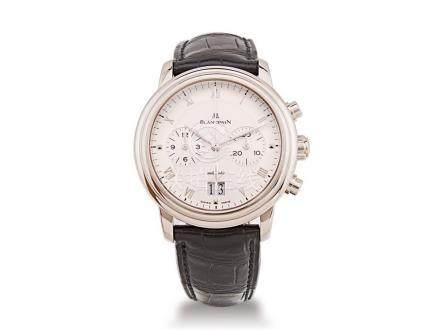寶柏 18K白金自動計時日曆皮帶腕錶
