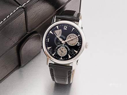 江詩丹頓 18K白金自動能量儲存顯示日曆透視背皮帶腕錶