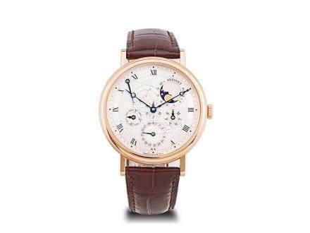 寶璣 18K玫瑰金自動萬年曆月相能量儲存顯示透視背皮帶腕錶