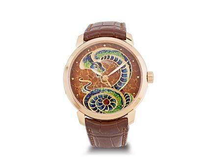 雅典 18K玫瑰金琺瑯彩蛇紋面自動透視背皮帶腕錶