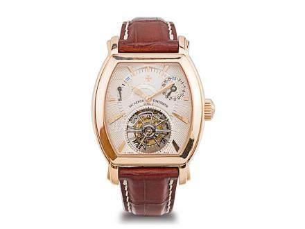 江詩丹頓 18K玫瑰金手動上鍊陀飛輪能量儲存顯示日曆透視背皮帶腕錶
