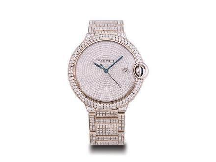 """卡地亞 """"藍氣球"""" 18K白金後鑲鑽石自動日曆鏈帶腕錶"""