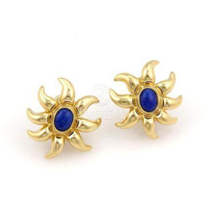 TIFFANY & CO. 18K YELLOW GOLD LAPIS FLOWER EARRINGS