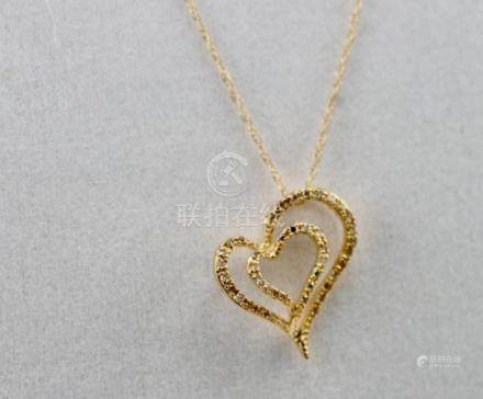 14K Y/G DIAMOND HEART NECKLACE
