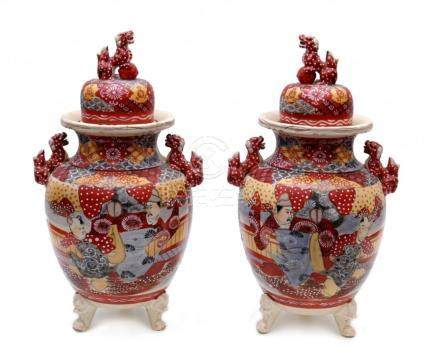 A Pair of Covered Satsuma Koro Vase