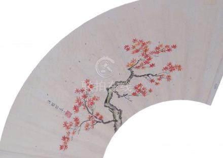Tsurzawa Tanzan 鶴沢 探山, 1655-1729: Fan with a motif of red ma