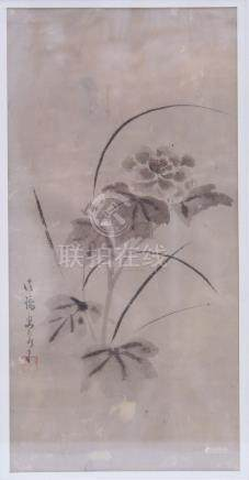 Tsuruzawa Tanzan ( 1655-1729) : Washed out ink paiting of a