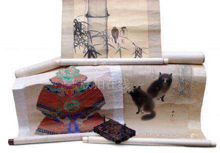 Three Hanging Scrolls and Paper Weight
