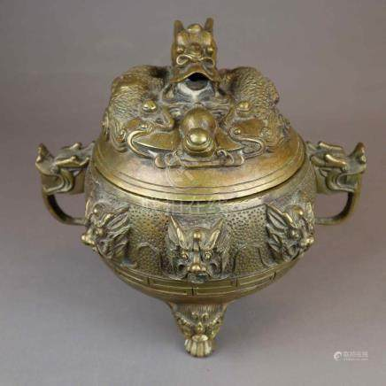 Incense Burner - China, 20th c., brass or bronze, spherical