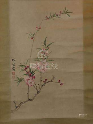 Chinese scroll painting - Wu Li Lai, Blooming peach branch,