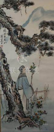 Chinese scroll painting - Xue Huishan, Landscape with a scho