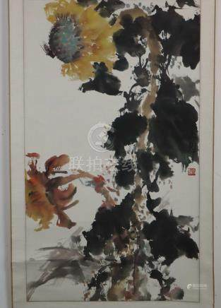 Chinese scroll painting - Sunflowers with insect, colors on