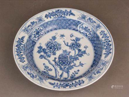 A Chinese underglaze blue plate - China, Qing Dynasty, plate