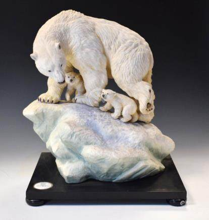 Albany Fine China Co polar bear group, 'Ice Monarch' modelled as an adult bear and two cubs on an