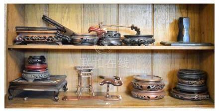 Box of Oriental hardwood vase stands etc Condition: