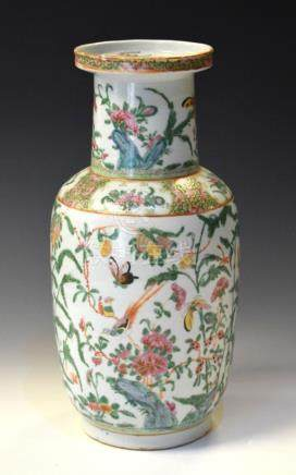 19th Century Cantonese porcelain vase decorated with butterflies amongst foliage, 35cm high