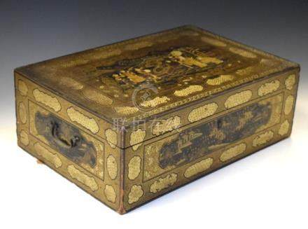 19th Century Chinese lacquered rectangular box decorated with landscapes and figures Condition: