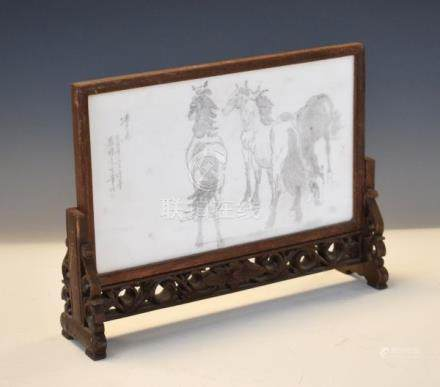 Chinese marble panel decorated with horses and calligraphy Condition: