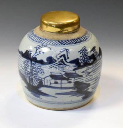Chinese Provincial ginger jar having blue painted decoration depicting a lakeland landscape, later