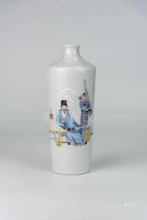 居仁堂 粉彩人物瓶(口有冲线)Famile-rose Figure Vase, Jurentang Mark Minor line at rim 高(Height):24cm