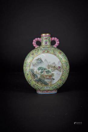 民国粉彩山水诗字抱月瓶(传张志汤) Republic Period, Famille-rose Moon Flask with Windows of Landscape and Poem Inscriptions  (Zhang Zhitang Mark) 高(Height):18cm