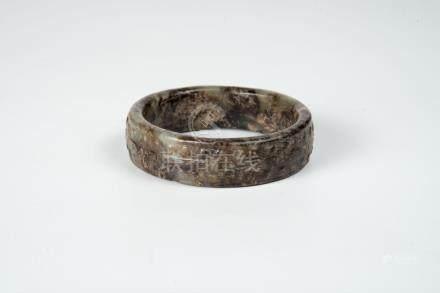汉 玉手镯 Han, Jade Bracelet 宽(Width):7.7cm 重(Weight):96g