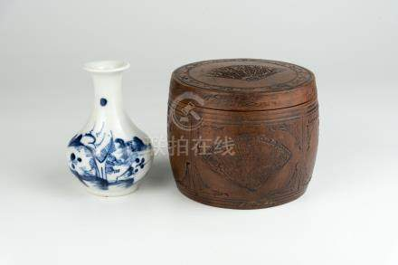 紫砂蛐蛐罐 光绪青花山水小赏瓶 A Yixing Jar Guangzu, Blue and White Small Bottle Vase 高(Height):10.5cm