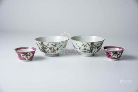 雍正 粉彩花鸟杯(一对)清同治  墨彩梅花小碗(一对)Yongzheng , A Pair of Famille-rose Birds and Flowers Cup Tongzhi, A Pair of Small Plum Blossoms Cups 高(Height):3.2cm,5cm