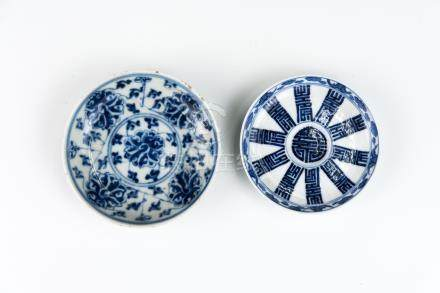 青花勾藤花纹小盘 宣德年制款 青花蝙蝠寿字小碟  光绪年制款 Blue and White Small Plate Blue and White Bat and Floral Small Plate Guangxu Mar 宽 (Width) :8.5cm