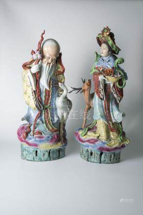 麻姑献寿Porcelain Figures of Fairies Magu with Longevity 高(Height):59cm,65cm