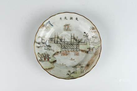 咸丰墨彩画东湖夜月盘 Xianfeng, Dark-glazed Plate with Moonlight over Eastern Lake 直径 (Diameter):14.5cm