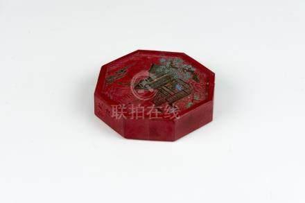 民国红色六方墨Republic Period, Hexagonal Red In 高(Height):7cm