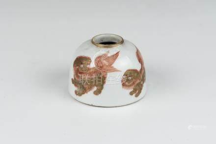 清咸丰狮如意小水盂 Qing, Xianfeng Water Pot with Dragon and Ruyi 高(Height):4.5cm
