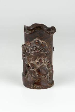 清竹笔筒雕人物 Qing Carved Bamboo Root Brush Pot 高(Height) 12cm