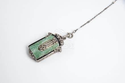 复古翡翠钻石吊坠复古的吊坠带翡翠和钻石天然翡翠(A级)项链南阳宝石认证 Vintage Jadeite pendant with diamonds retro pendant with emerald and diamond natural jade (A grade) necklace Nanyang gemstone certification