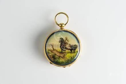 罕见的古董中国市场怀表,18世纪直径。 45毫米。珐琅彩绘花卉珍珠 Rare Antique Chinese Market pocket watch, 18th Century Dia. 45mm. Enamel painting.