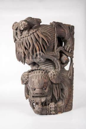 清 木雕大狮子(一对)Qing, A Pair of Large Carved Lion 长(Length):45cm 宽(Width):23cm 高(Height):70cm