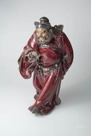 石湾 钟馗 (刘泽棉)Shiwan Pottery Figure of Zhong Kui Mark of Liu Zemian 高(Height):39.5cm