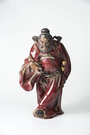 石湾 钟馗  民国 Republic Period, Shiwan Pottery Figure of Zhong Kui, the Excorist 高(Height):36.5cm